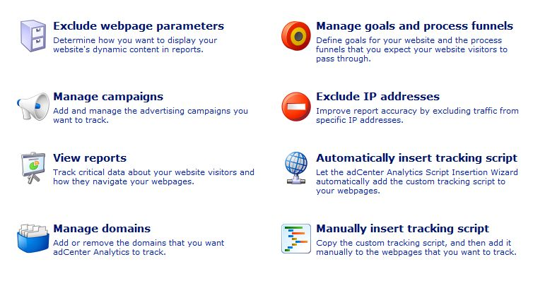Microsoft Adcenter Analytics Settings