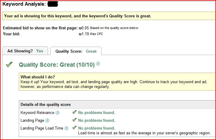 great Google quality score details