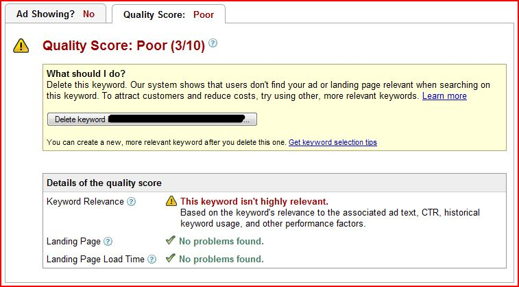 poor google quality score details