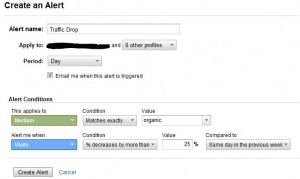 google analytics intelligence custom alert setup
